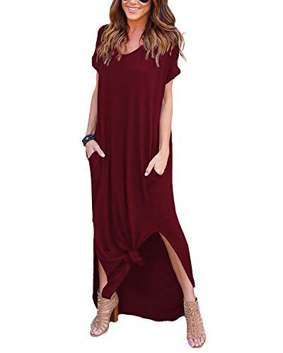 YOINS Sommerkleid Damen Lang Maxikleider für Damen Strandkleid Sexy Kleid Kurzarm Jerseykleider Strickkleider Rundhals mit Gürtel Rotwein EU36-38 (Kleider $20 Damen Unter Rote)