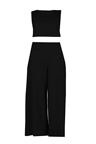Noir Femmes sally ensemble assorti jupe-culotte et top court coupe carrée Noir