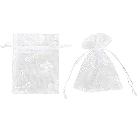 100x Pochette cadeau 9x7cm Sac Organza Blanc de Papillons Argentés bijoux dragées faveur pour mariage