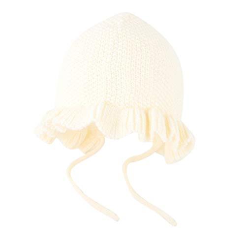 SINGOing Unisex - Baby Mütze Unifarbe Wintermütze Niedlich Winter Bommelmütze warm Für Jungen Mädchen Rüschen häkeln Strickmütze Beanie Princess Cap