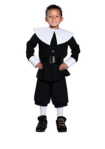 Halloween Kostüm Party Kleidung Festival Fasching Karneval Cosplay Retro Mode Fun Kinder Junge Kostüm Pilgrim Boy (Jacke+Kragen+Hose+Gürtel) - Kindergröße S (4-6) (Kinder Pilgrim Kostüm)