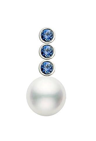 14K Or japonais de qualité AAA Blanc Perle de culture Akoya Saphir Bleu Pendentif