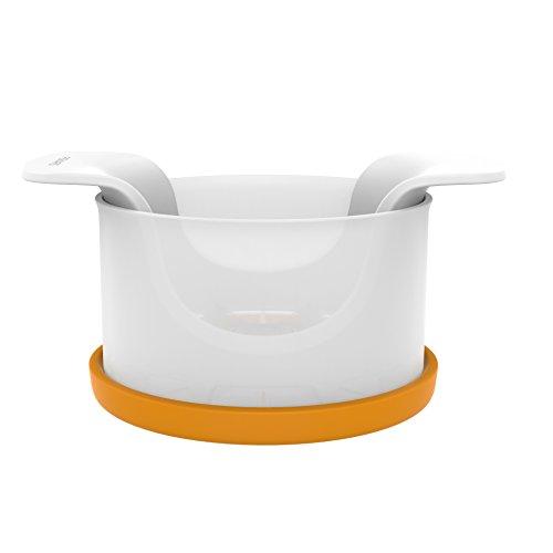 Fiskars Apfelteiler mit Behälter, 16,4 x 12,7 x 7,8 cm, Kunststoff/Stahl, Functional Form, Weiß/Orange, 1016132