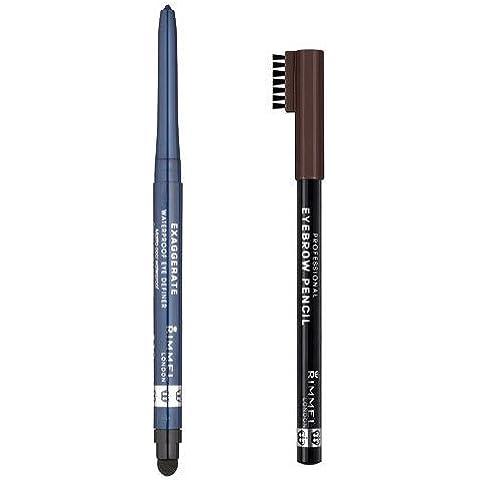 Rimmel Professional Eyebrow Pencil Dark Brown and Exaggerate Eye Definer,