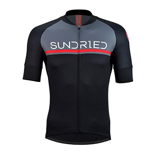 Sundried Mens Short Sleeve Cycling Jersey Road Bike Cycling Top Mountain Bike Shirt (Schwarzes, XL) -