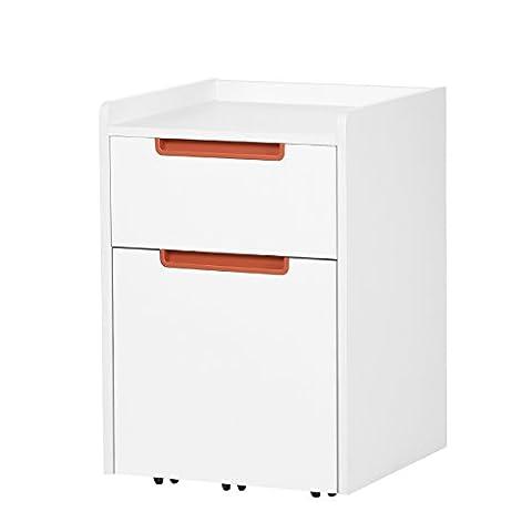 DEVAISE Hölzernen Aktenschränke / Rollcontainer / Büro-Rollcontainer / Bürocontainer mit 2 Schublade für A4; Mobilen, Weiß, Orange Hälfte-Griff
