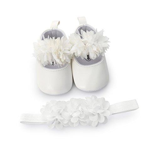 EDOTON Baby Mädchen Blume Schuhe mit Haarband Anti-Rutsch-Weiche Taufe Prinzessin Lauflernschuhe Sneaker für Kleinkind (0-6 Monate, Weiß)