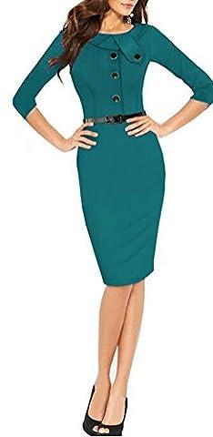 SunIfSnow - Robe spécial grossesse - Moulante - Uni - Manches 3/4 - Femme - vert - XX-Large
