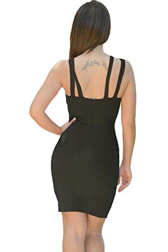 Bigood Robe Moulante Femme Sexy Poitrine Creux Dos Zip Sans Manches Soirée Cocktail Noir