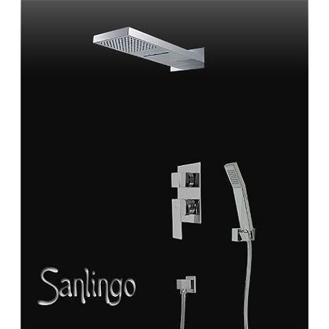 Completa Cascade ducha de lluvia oculta 3Way desviador Chrome Sanlingo
