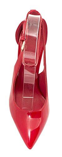 Elara Spitze Pumps | Moderne High Heels | Bequeme Lack Stilettos Rot