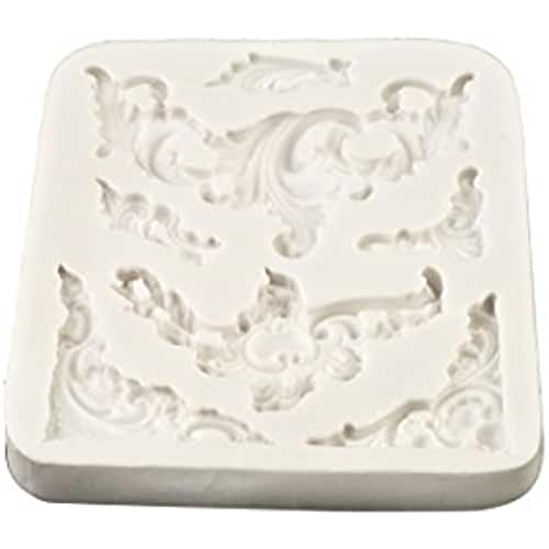 figuras kawaii porcelana fria Molde de silicona barroco Scrolls | FPC molde de fondant, resina, cera molde, Fimo molde, molde de Craft