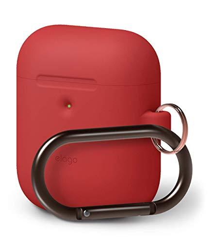 elago A2 Silikonhülle kompatibel mit Apple AirPods 2 Wireless Hülle (LED an der Frontseite sichtbar) - [Unterstützt kabelloses Laden] [Extra Protection] (mit Karabiner, Rot)