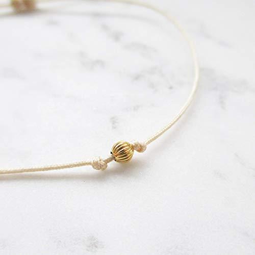 585er Gelbgold Minimal Armband | Fußkettchen | Personalisiert | Goldperle Weißgold