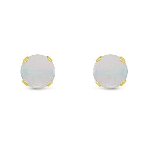 Kezef Creations-massiccio 14K oro giallo 4mm .90TCW-Orecchini a lobo Opale naturale vera ottobre Birthstone