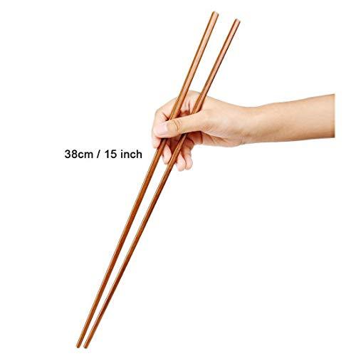 Dulcii Traditionelle chinesische Holz-Essstäbchen für Feuertopf, Braten, Kochen, Nudeln, als Geschenkset, 5 Paar, 38 cm lang