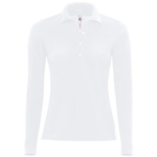 B&C Damen Polo Shirt Safran Langarm Schwarz