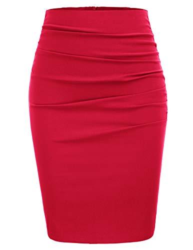 high Waist Rock für Damen Knielang Business Rock rot Bleistiftrock CL866-5 L