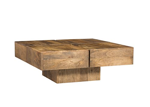 Woodkings Couchtisch Amberley 80x80cm Holz Mango Natural Rustic Echtholz Modern Design Massivholz Exklusiv Lounge Coffee Table Gunstig