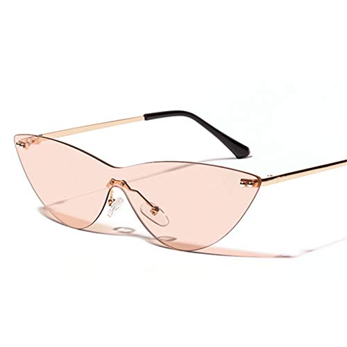 YOURSN Randlose Sonnenbrille Frauen Männer Cat Eye Sonnenbrille Retro Designer Fashion Brille Famale Trendy Eyeglasses Uv400-Brown