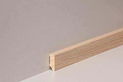KGM Sockelleiste Eiche hell gekalkt | Modern Holzleisten 40mm für Parkett und Laminat Eiche ✓Echtholz Fußleiste ✓hochwertige Furnier Oberfläche | Parkettleiste Bodenleiste 16x40x2500mm - Eiche Hell Laminat