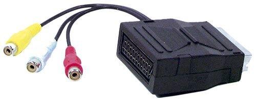 INDIPC 57792 Adaptateur avec fiche Péritel gigogne/3 x RCA femelles 5 cm Noir