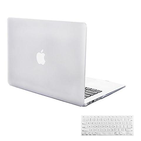 MacBook Air 11 Hülle Case, iNeseon Ultra Slim Gummierte Hartschale Tasche Cover Shell, US Transparent und EU Transparent Tastatur Abdeckung Schutzhülle für Apple MacBook Air 11.6 Zoll [Modell:A1370 und A1465] (Transparent)