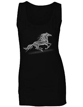Novedad del cuadro del arte del caballo camiseta sin mangas mujer a781ft