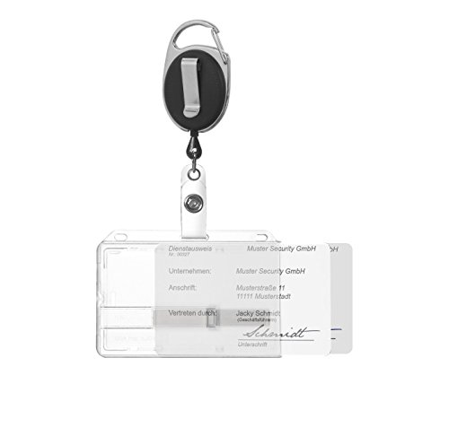 Ausweishülle Ausweishalter Kartenhalter für bis zu 2 Karten aus Hartplastik mit zwei transparenten Schiebern und Ausweisjojo schwarz mit Karabiner- und Ansteckerclip -