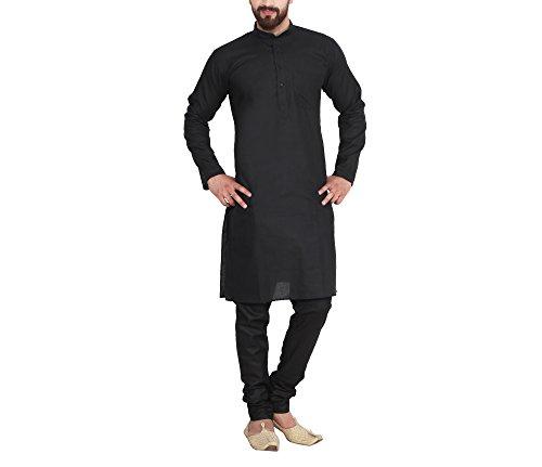 Sojanya Men's Linen Kurta Pyjama (Sjr-130-40_Black_Large)