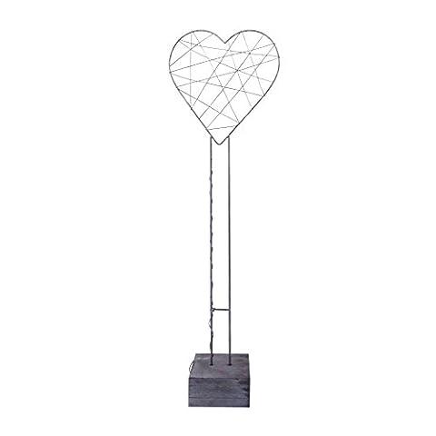 Accessoires LED/Kerzen Deko-Herz mit Draht auf Fuß mit LED, Metall Metall silber 25x25x75cm (Herz Fuß)