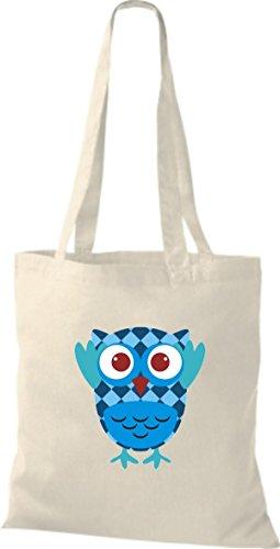 ShirtInStyle Jute Stoffbeutel Bunte Eule niedliche Tragetasche mit Punkte Owl Retro diverse Farbe, schwarz natur
