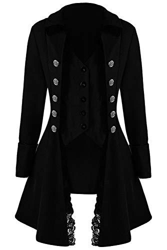 Huiyemy Damen Steampunk Barock Mantel, Gothic viktorianische Jacke Damen Frack viktorianisch Kostüm - Frack Jacke Kostüm
