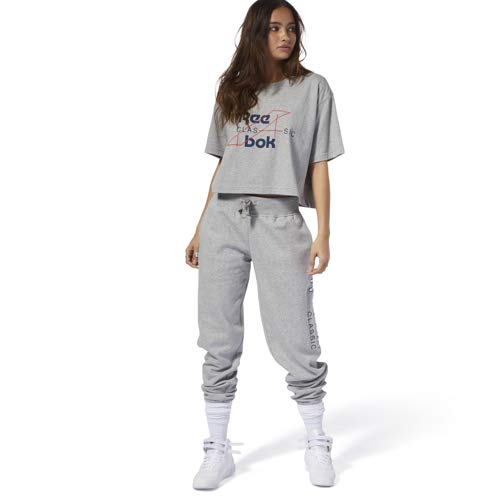 Reebok Damen Classics Activchill Jogger Pant Hosen, Medium Grey Heather, Large (Frauen Fleece Reebok)