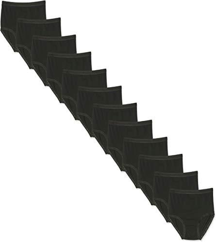 FM London Damen Multipack Lace Trim Full Briefs Taillenslip, Schwarz (Black), 50 (Herstellergröße: Xx OS 48-50) (erPack 12 - 12 Schwarz Trim