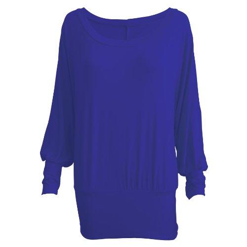 Lang Ärmel Dehnbar Semi-Spannbettlaken Batwing T-Shirt Top Größe 8