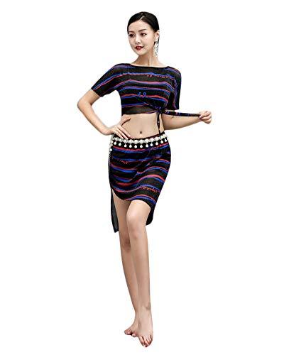 Damen Druck Tanz Kleidung Set Bauchtanz Kleidung Bauchtanz Tribal Oriental Belly Dance Rock Schwarz - Tänzerin Orientale Kostüm