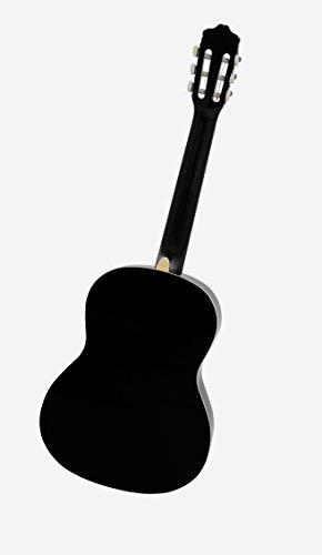 NAVARRA Konzertgitarre 4/4 schwarz mit cremefarbigen Randeinlagen und leicht gepolsterter Tasche mit Rucksackriemen und Notenfach, 2 Plektren - 5
