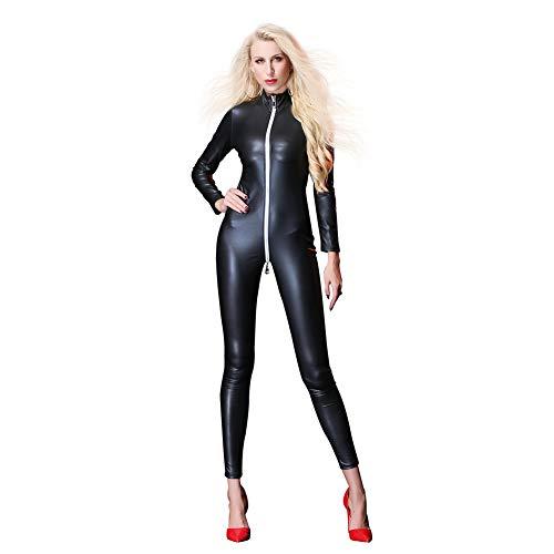 Spandex Catwoman Kostüm - IWEMEK Damen Latex Catsuit Leder Reißverschluss