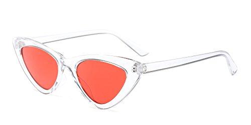 BOZEVON Damen Triangle Sonnenbrille - UV400 Brillen Katzenauge Retro Jahrgang Cat Eye Sonnenbrillen Weiß Orange