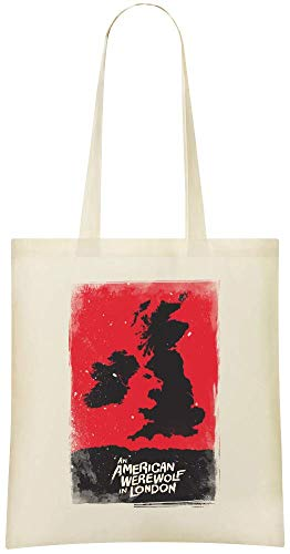 Un loup-garou américain à Londres - An American Werewolf In London Custom Printed Grocery Tote Bag - 100% Soft Cotton - Eco-Friendly & Stylish Handbag For Everyday Use - Custom Shoulder Bags