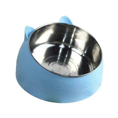 Intelligente Heizung Thermostat Pet Bowl, Net Red Katze Bowl Hundenapf Double Bowl Schutz Halswirbel Katze Bowl Schrägmund Explosion Pet Keramik Becken Interaktives Hundespielzeug (Color : Blau) -