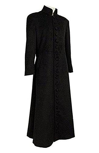 QianQian Herren Schwarz Woll-Trenchcoat Lange Jacken Party Warm Cosplay Kostüm (Herren-XXL, (Halloween Schwarz Kostüm Trenchcoat)