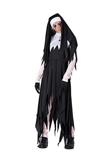 uen Halloween Horror Bloody Nonnen Priester Kleid Missionar Kostüme unregelmäßigen Langen Rock Zombie Cosplay,Black,XXL ()
