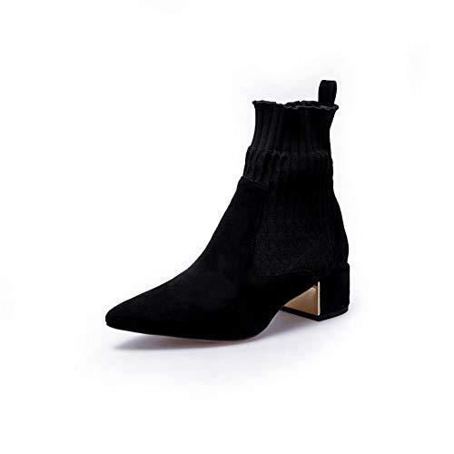 Spitze quadratische Ferse Kurze Stiefel Stricken Enge Mund Socken Stiefel Winter Peeling Chunky Ferse Martin Woman Boots,schwarz Dünn,37