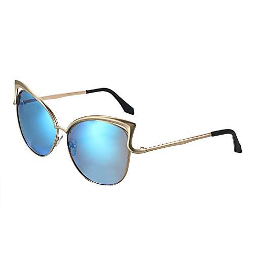 Aroncent Katzenaugen Polarisierte Sonnenbrille Verspiegelt Damen Sunglasses 100% Anti - UV400 für Damen Metallrahmen Blau