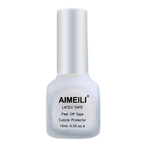 AIMEILI Liquid Latex Tape Peel Off Protection de la Peau et des Doigts pour Nail Art Manucure Inodore 15 ML Blanc