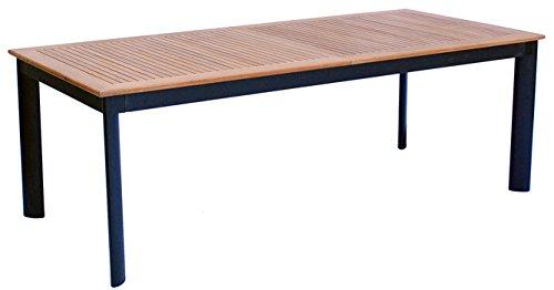 PEGANE Table Extensible de Jardin en Aluminium Noir Bois Teck -12 pers - Dim : 220/320 x 100 x 74 cm