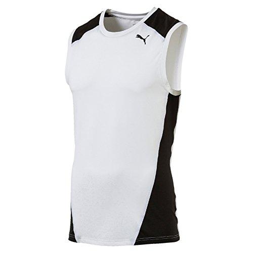 PUMA Herren Cross The Line SleevelessTop T-Shirt, White Black, XXL -
