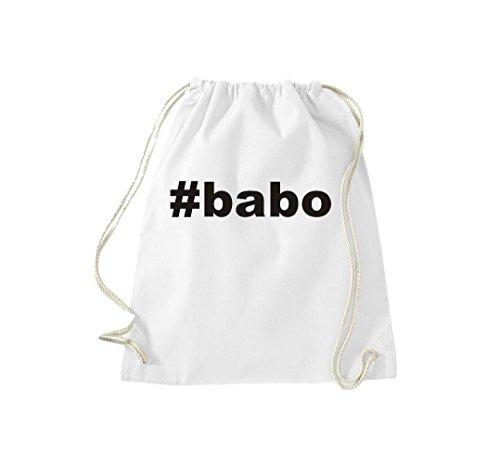 Turnbeutel #BABO Hashtag Gymsack Kultsack Weiß